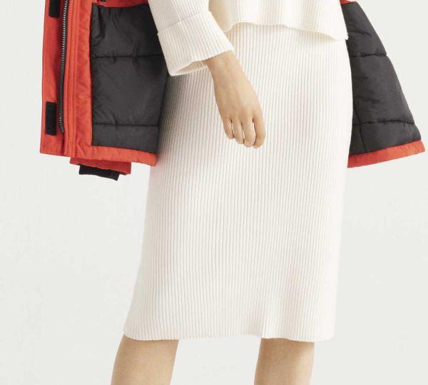 Bijela suknja srednje dužine