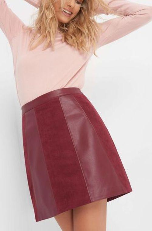 Orsay bordo kožna suknja