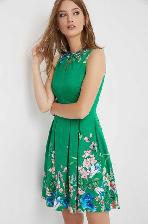 Orsay - zelena haljina sa cvjetnim detaljima