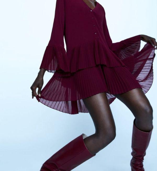 Haljina u burgundy boji - Zara