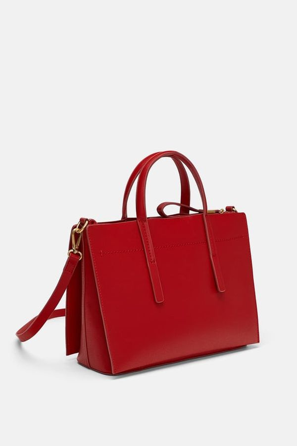 Zara crvena torba za poslovne modne kombinacije